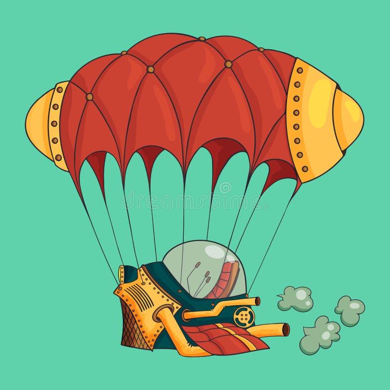 Fantazja samolot, sterowiec w stylu steampunk royalty ilustracja
