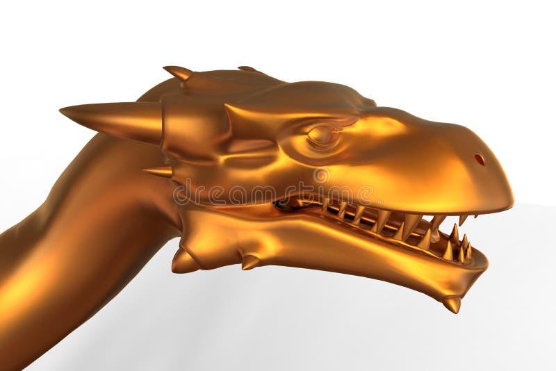 Download Fantazja smoka Złota głowa ilustracji. Ilustracja złożonej z ilustracje - 53781675