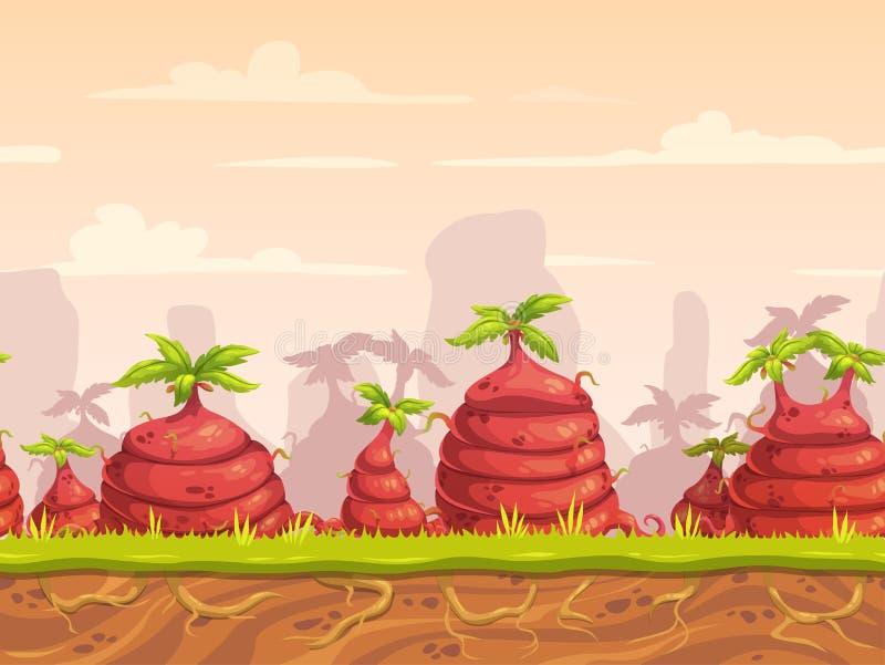 Fantazja straszny bezszwowy krajobraz z dużymi dziwacznymi roślinami ilustracja wektor