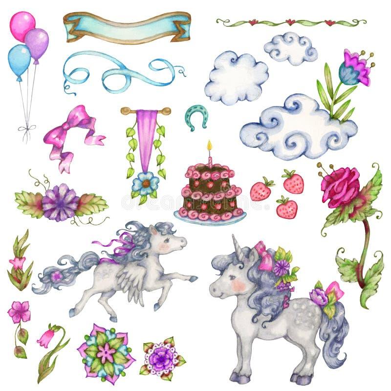 Fantazja urodziny elementy ilustracja wektor