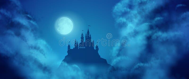 Fantazja wektoru kasztelu blasku księżyca niebo ilustracja wektor
