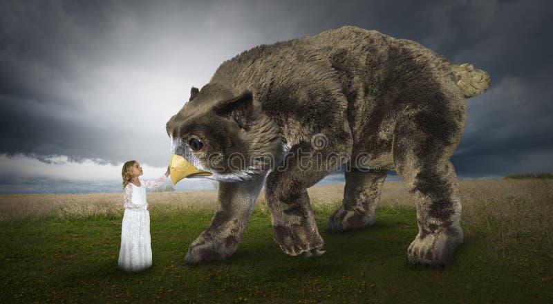 Fantazja, wyobraźnia, młoda dziewczyna, natura, zwierzęta fotografia royalty free