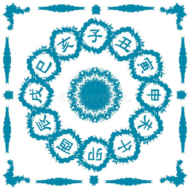 Fantazja z ideogramami Chiński horoskop ilustracja wektor