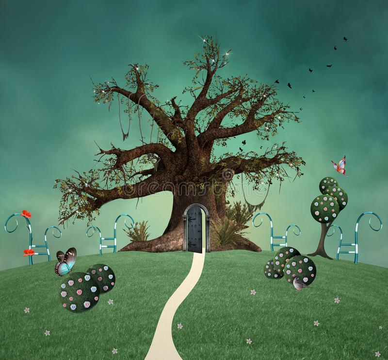 Fantazji drzewo z otwarte drzwim w zielonym polu ilustracja wektor
