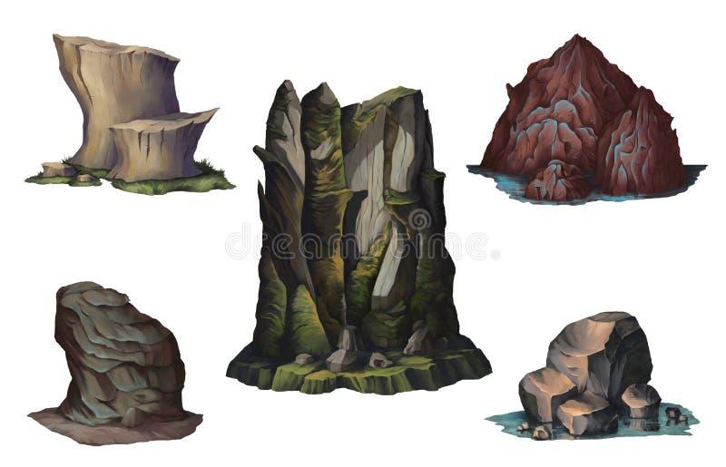 Fantazji góry na wyspie ustawiających skałach i Pojęcie projekta cyfrowa sztuka pojedynczy białe tło ilustracja wektor