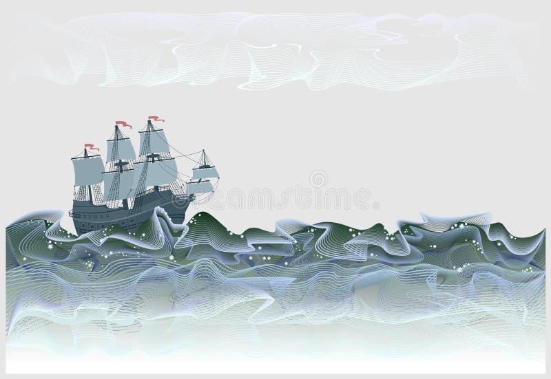 Fantazji ilustracja antyczny żaglówek hiszpańszczyzn galeon Burzowe fale morze w formie abstrakcjonistyczne linie meandering ilustracji