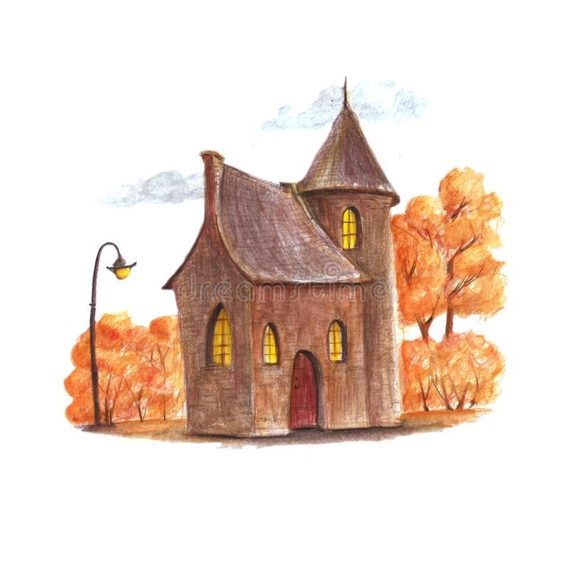 Fantazji jesieni dom royalty ilustracja