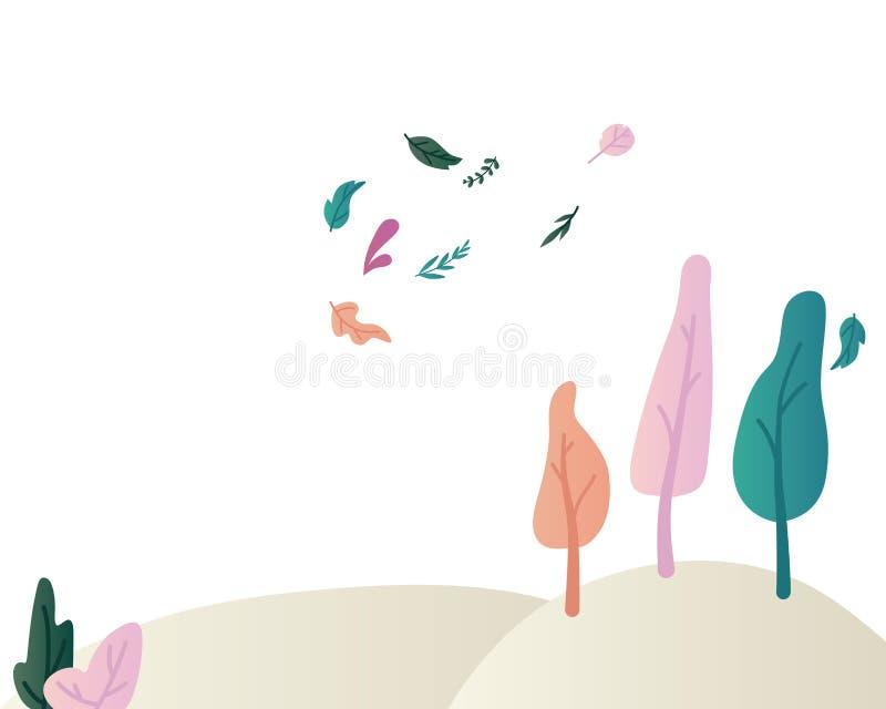 Fantazji krajobrazowa wektorowa ilustracja z pięknymi magicznymi drzewami i krzakami na wzgórzach i latanie liściach ilustracja wektor