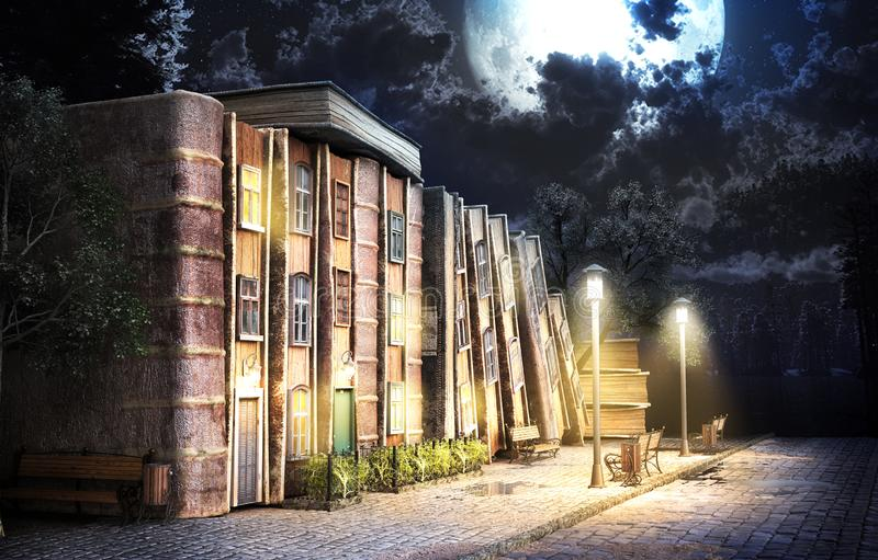 Fantazji literatura Sterta stare książki jako ulica miasto ilustracja 3 d royalty ilustracja
