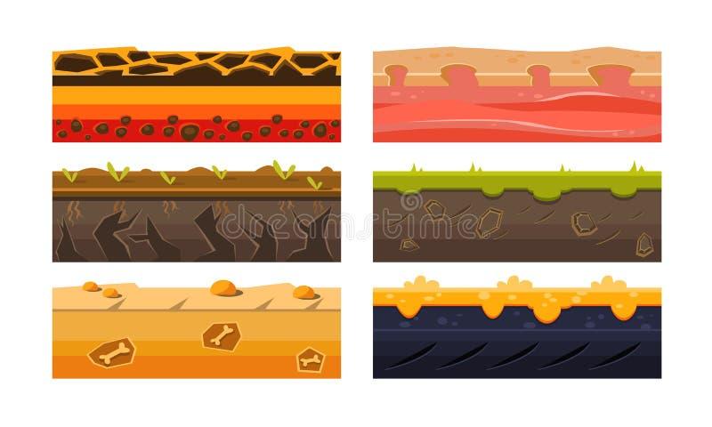 Fantazji platformy Ustawiać, Zmielone tekstury dla użytkownika, wiszącej ozdoby lub gier komputerowych Iinterface wektoru ilustra ilustracja wektor