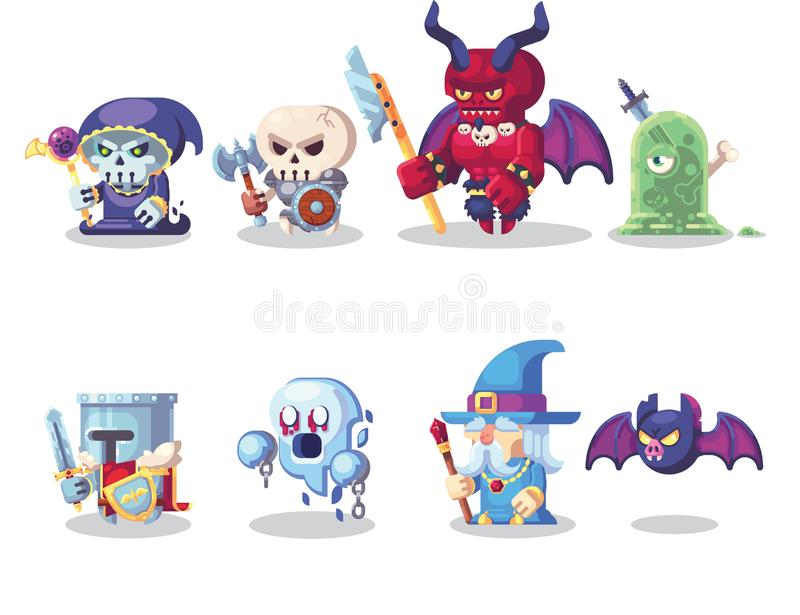 Fantazji RPG charakteru bohatera i potwora Gemowe ikony Ustawiają ilustrację ilustracja wektor