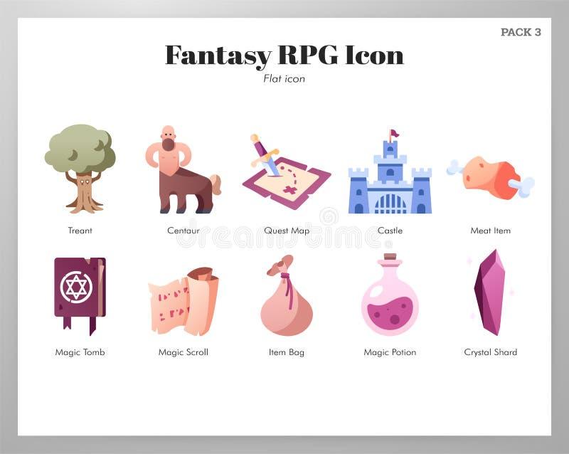 Fantazji RPG ikon P?aska paczka ilustracja wektor