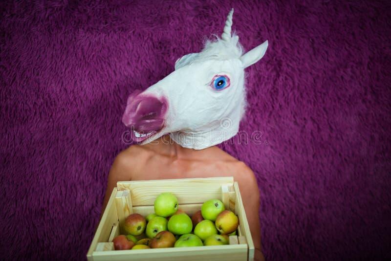 Fantazyjności młoda kobieta w komicznych maska stojakach na purpurowym tle fotografia stock
