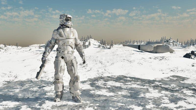 Fante di marina dello spazio - guerriero del ghiaccio illustrazione di stock