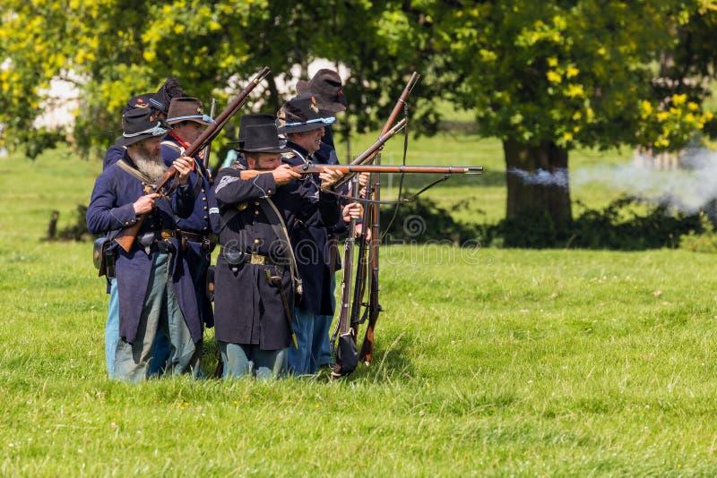 Fanteria dell'Esercito dell'Unione della guerra civile americana fotografia stock libera da diritti