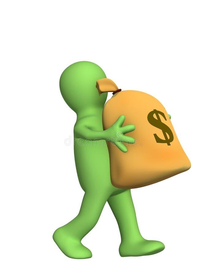 fantoche 3d, carreg nas mãos o saco grande do dinheiro ilustração royalty free