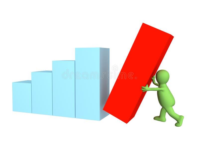 fantoche 3d, estabelecendo a última coluna do diagrama ilustração stock