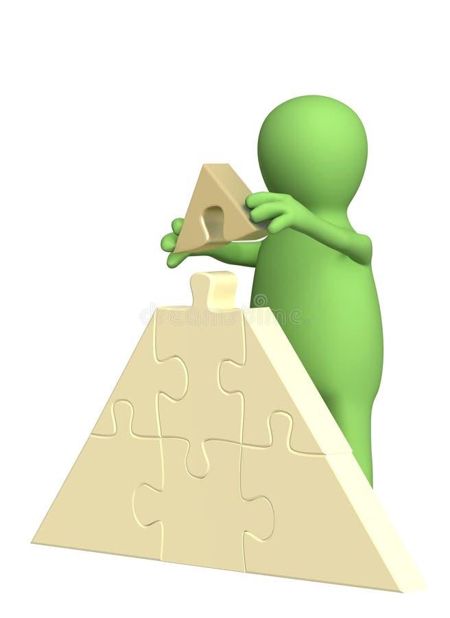 fantoche 3d, fazendo uma pirâmide dos enigmas ilustração royalty free