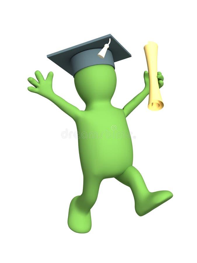 Fantoche 3d feliz o diploma recebido ilustração royalty free