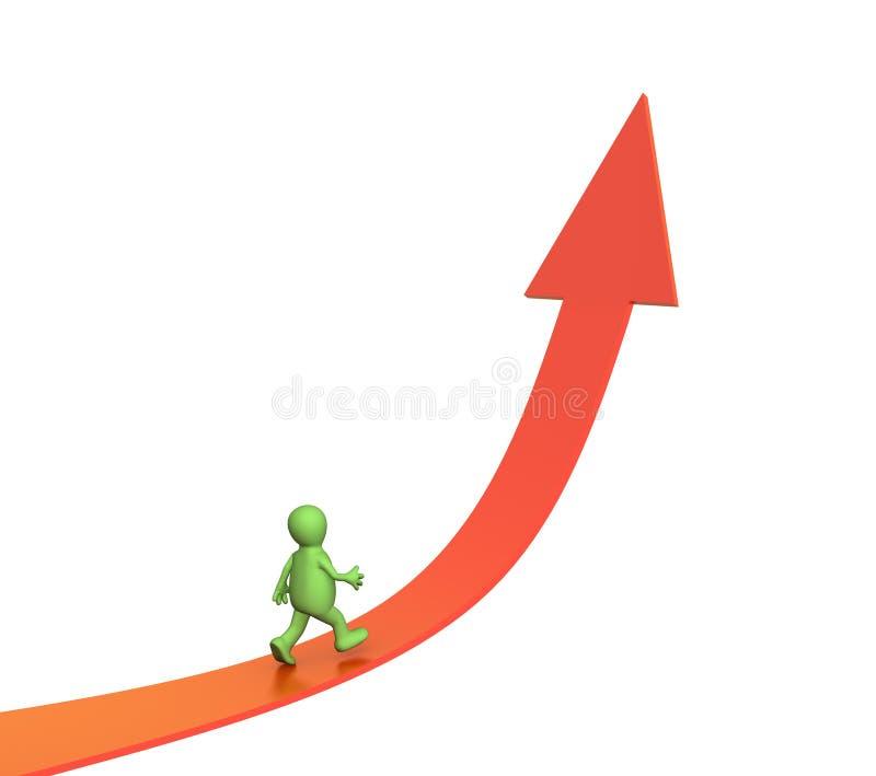 fantoche 3d que vai em uma seta de aumentação ilustração do vetor