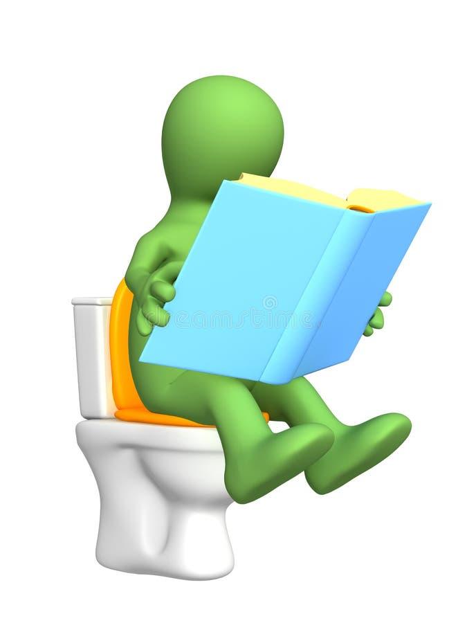 fantoche 3d, sentando-se com o livro na bacia de toalete ilustração stock