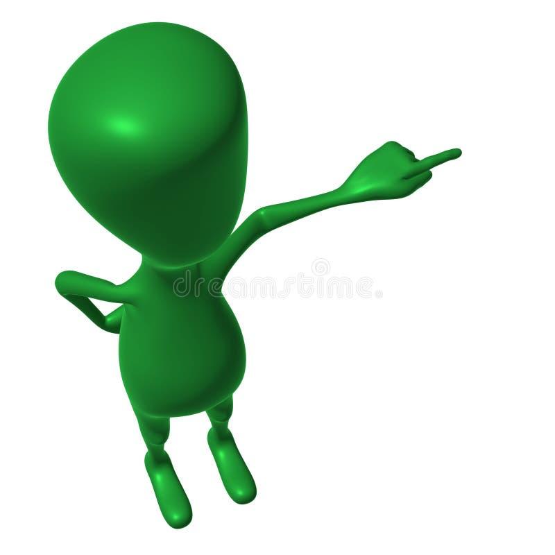 Download Fantoche 3d Verde Da Vista Que Imita Apontando O Dedo Ilustração Stock - Ilustração de dobrado, felicidade: 26501505