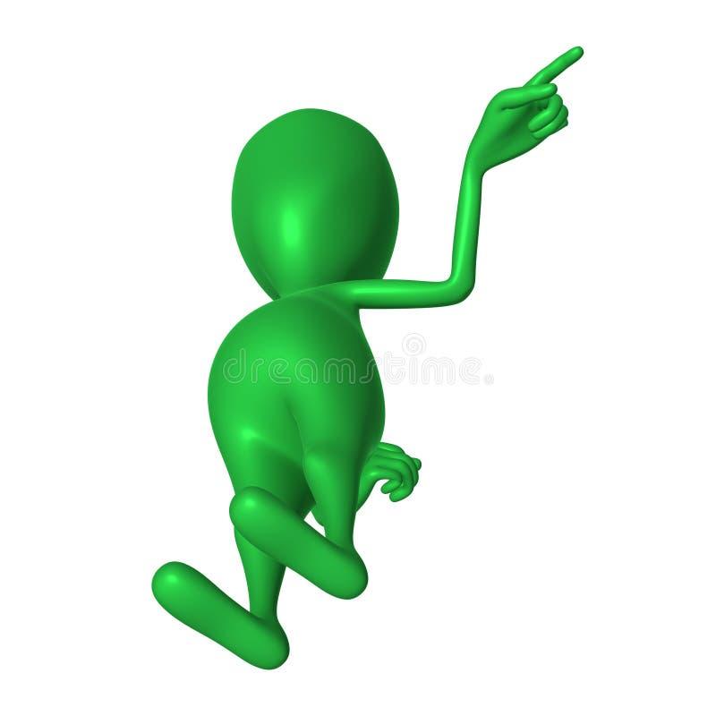 Download Fantoche 3d Verde Da Vista Que Imita Apontando O Dedo Ilustração Stock - Ilustração de pose, carved: 26501506