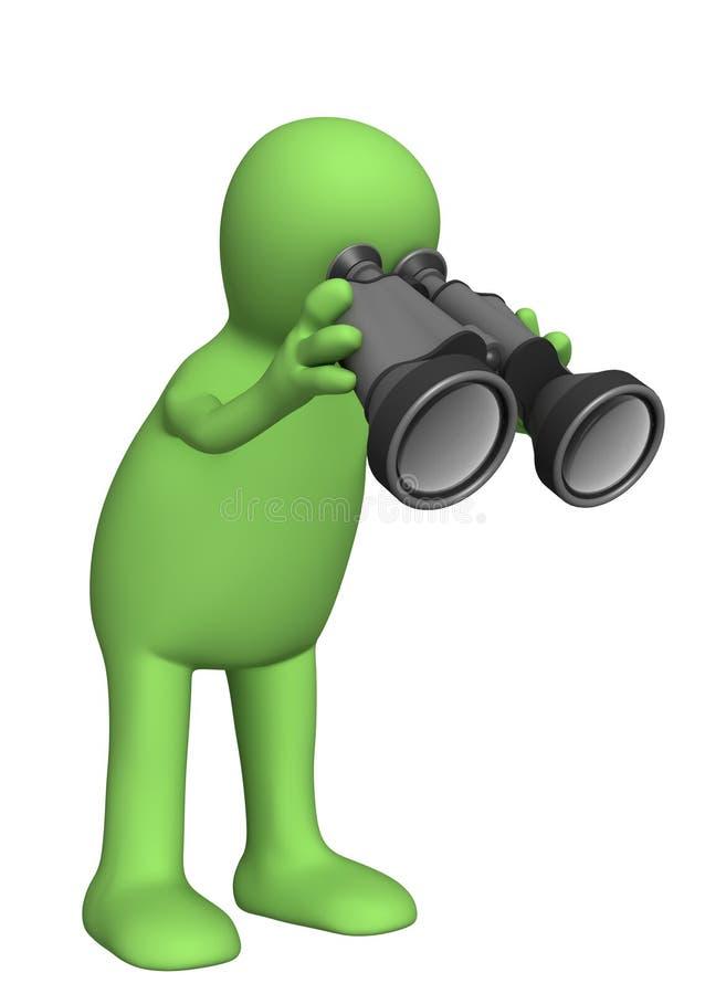 fantoche da pessoa 3d que olha através do campo-vidro ilustração do vetor