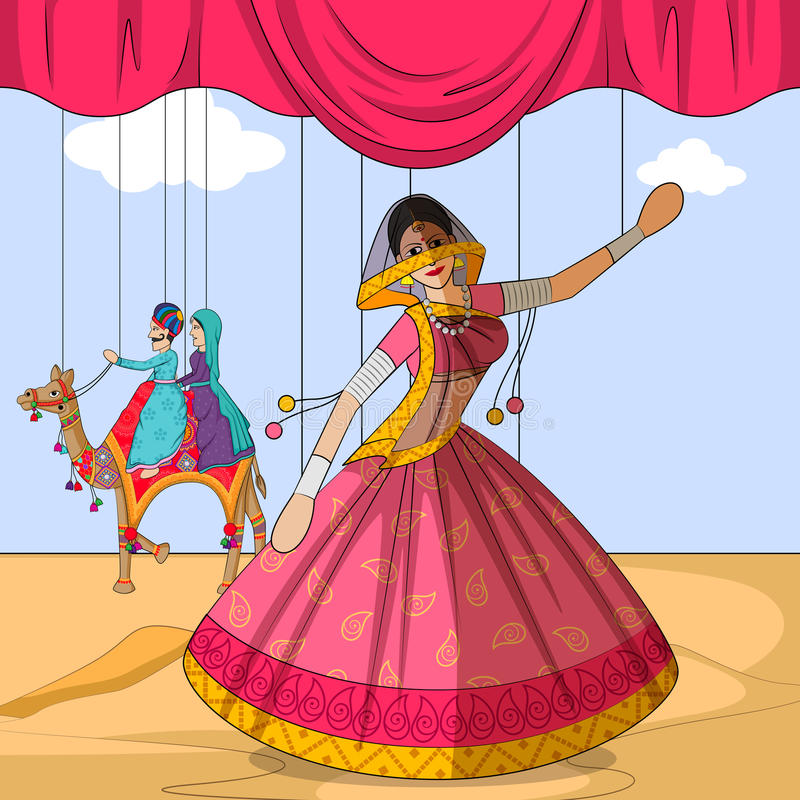 Fantoche de Rajasthani que faz a dança popular de Ghoomar de Rajasthan, Índia ilustração stock