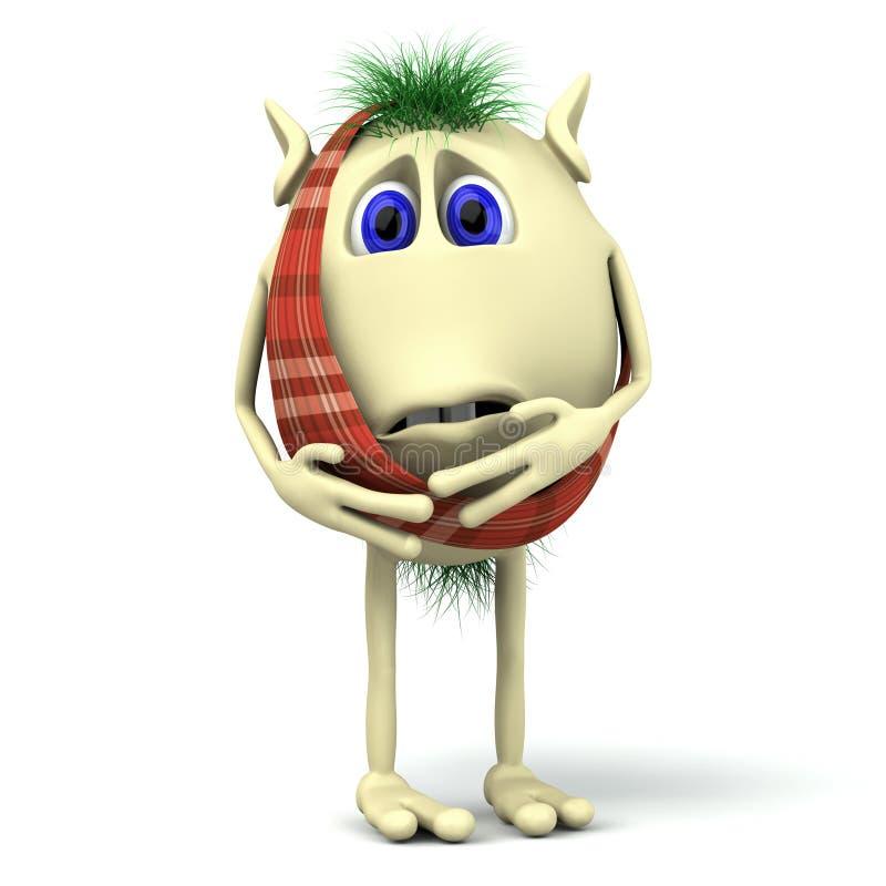 fantoche do caráter 3d que tem a dor de dentes ilustração royalty free