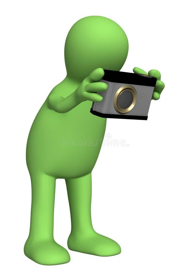 fantoche do fotógrafo 3d com um photocamera ilustração royalty free