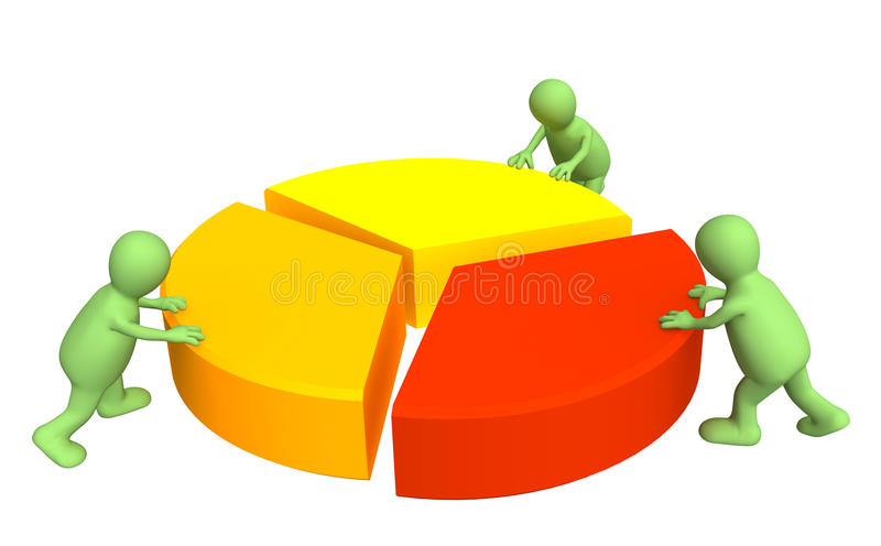 fantoches 3d, fazendo o diagrama redondo ilustração do vetor