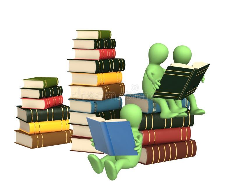 fantoches 3d, lendo os livros ilustração stock