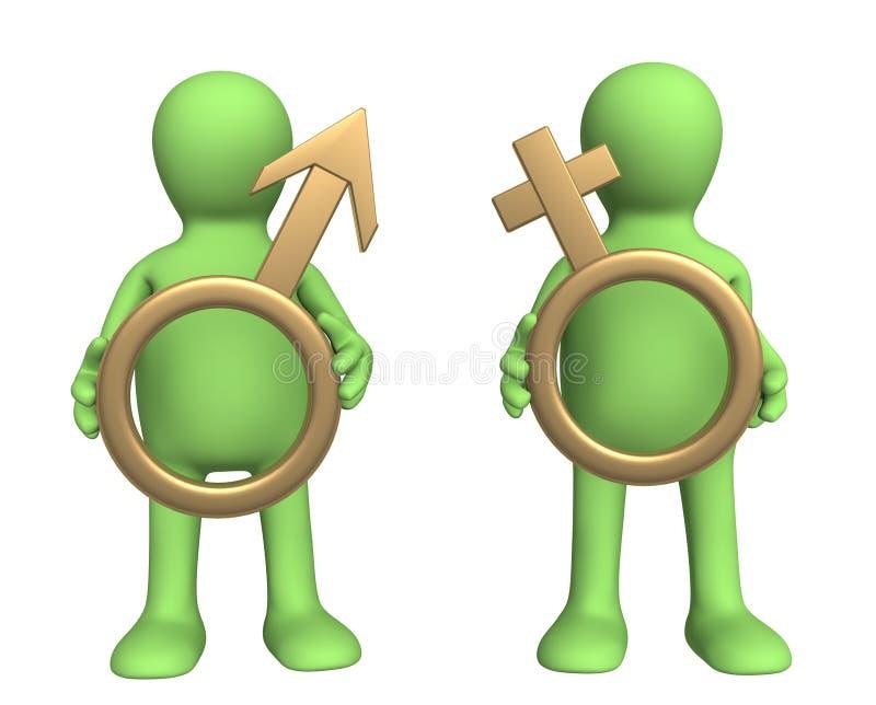 Fantoches com símbolos 3d - macho e fêmea ilustração do vetor
