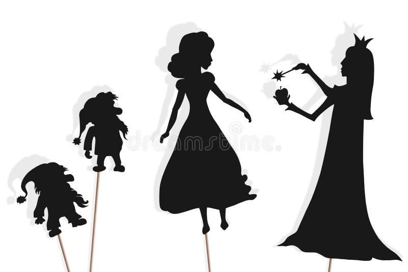 Fantoches da sombra do branco da neve, dos an?es e da rainha m? ilustração royalty free