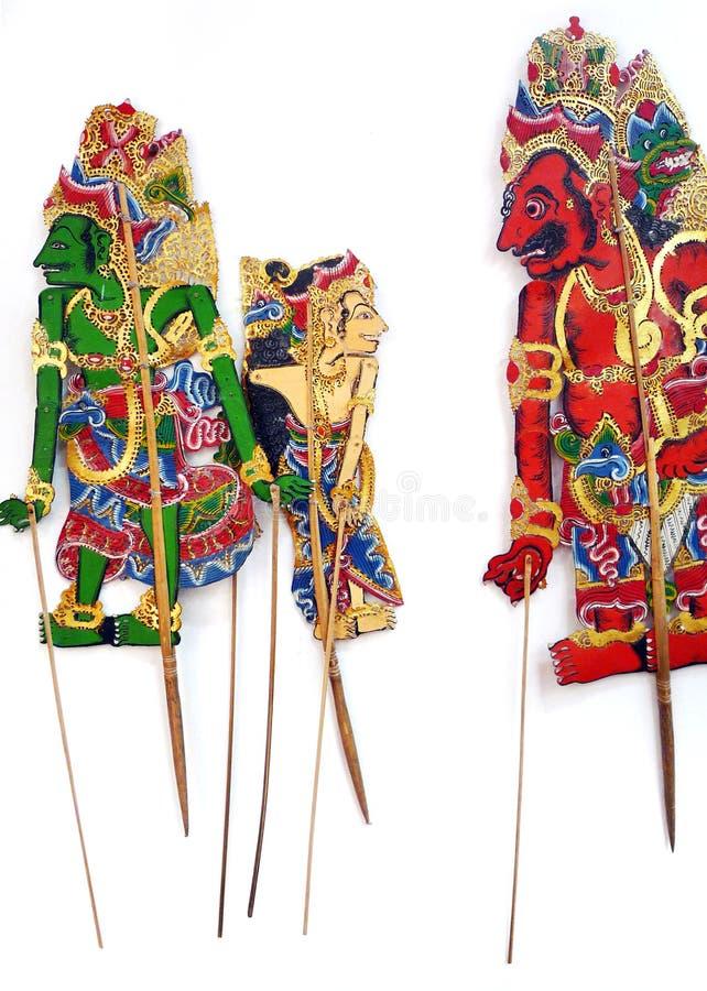 Fantoches handcrafted antiguidade da sombra fotografia de stock