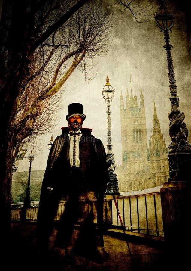 Fantomen maskerade mannen med blodiga ögon går i London nära flodThemsen royaltyfri illustrationer