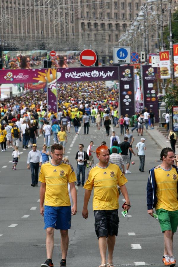 Fanzone in Kyiv royalty free stock photo