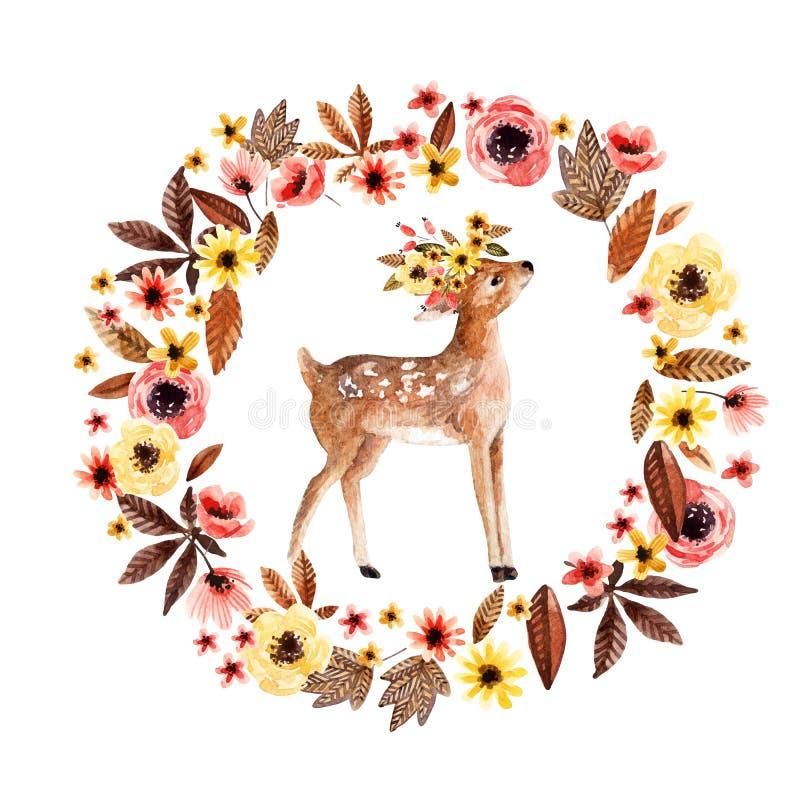Faon de cerfs communs d'aquarelle parmi des fleurs d'isolement sur le fond blanc illustration stock