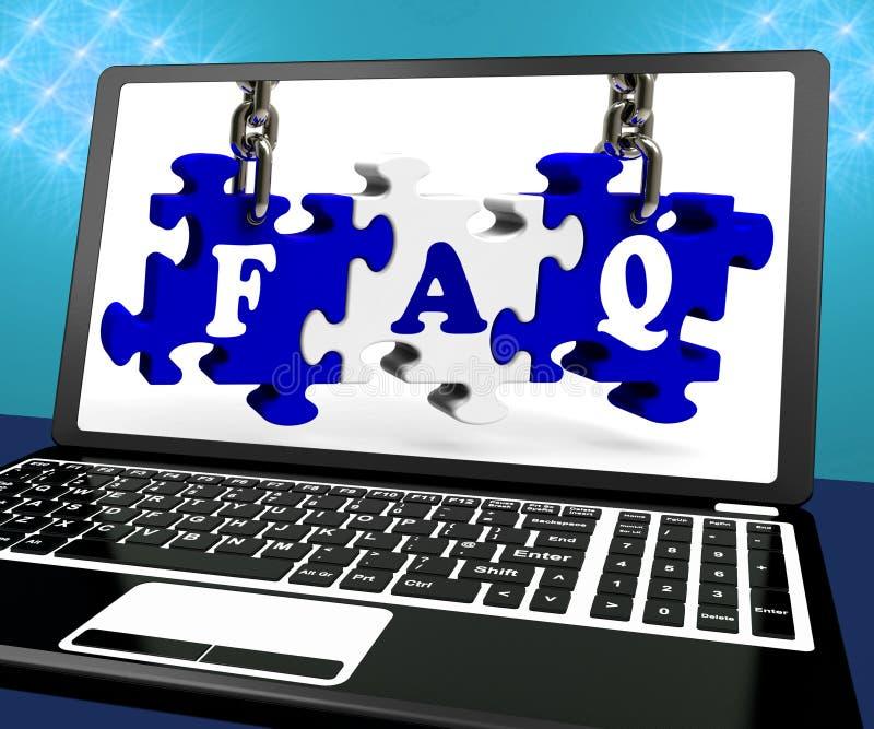 FAQ łamigłówka Na laptopie Pokazuje strony internetowej pomoc ilustracja wektor