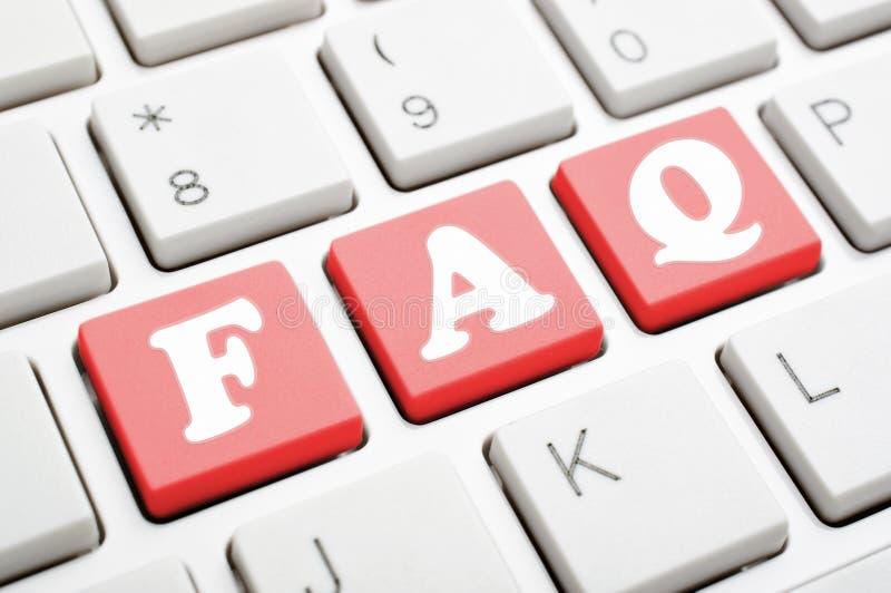 FAQ στο πληκτρολόγιο στοκ φωτογραφία