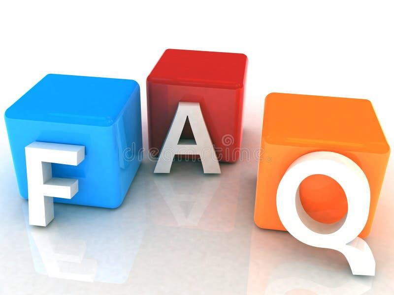 FAQ 3D lizenzfreie abbildung