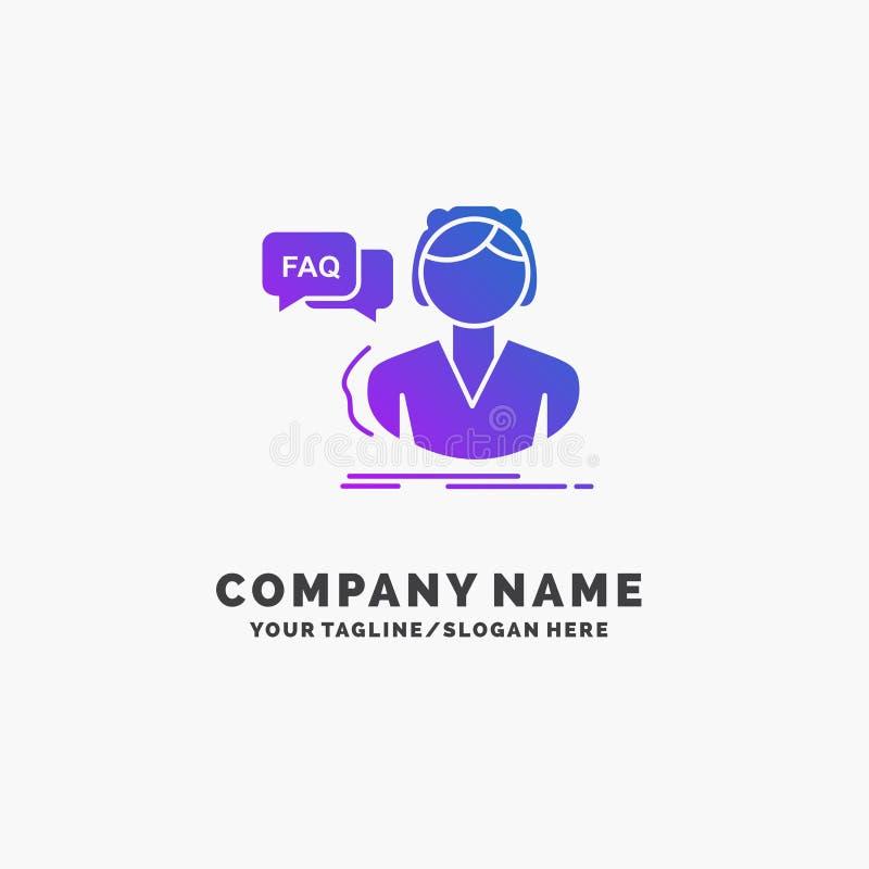 FAQ, aide, appel, consultation, affaires pourpres Logo Template d'aide Endroit pour le Tagline illustration de vecteur