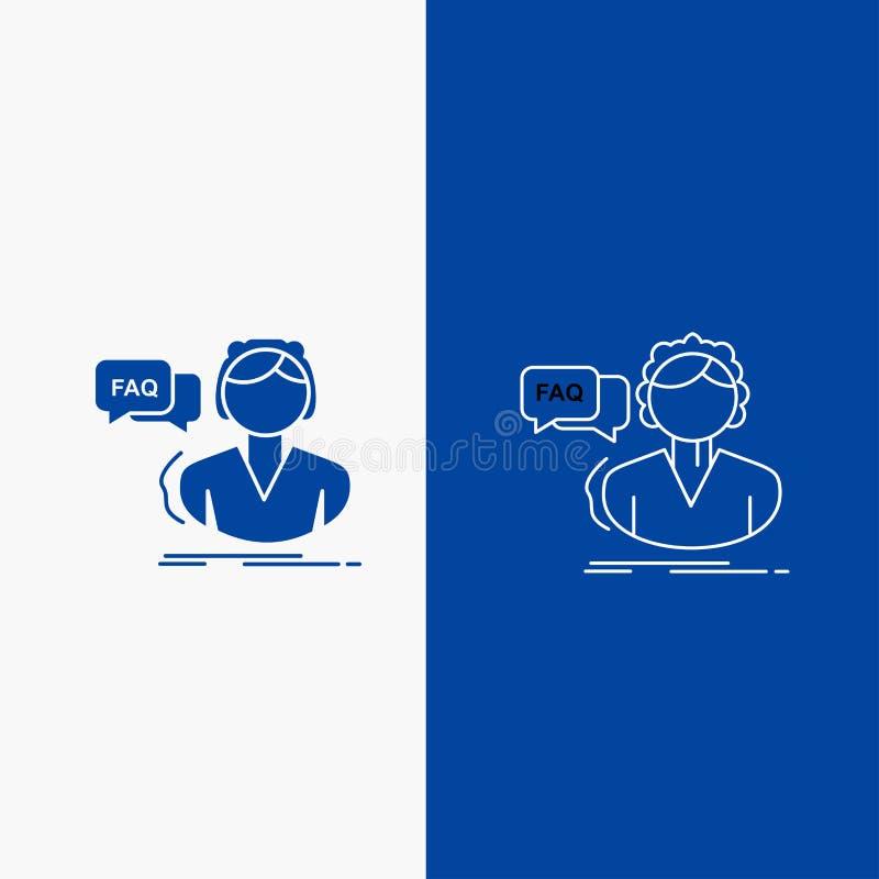 FAQ, aide, appel, consultation, bouton de Web de ligne d'aide et de Glyph dans la bannière verticale de couleur bleue pour UI et  illustration de vecteur
