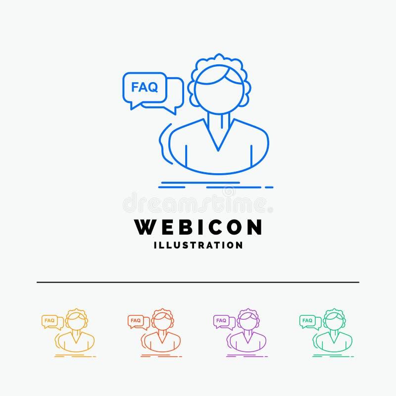 FAQ, aide, appel, consultation, discrimination raciale de l'aide 5 calibre d'icône de Web d'isolement sur le blanc Illustration d illustration libre de droits