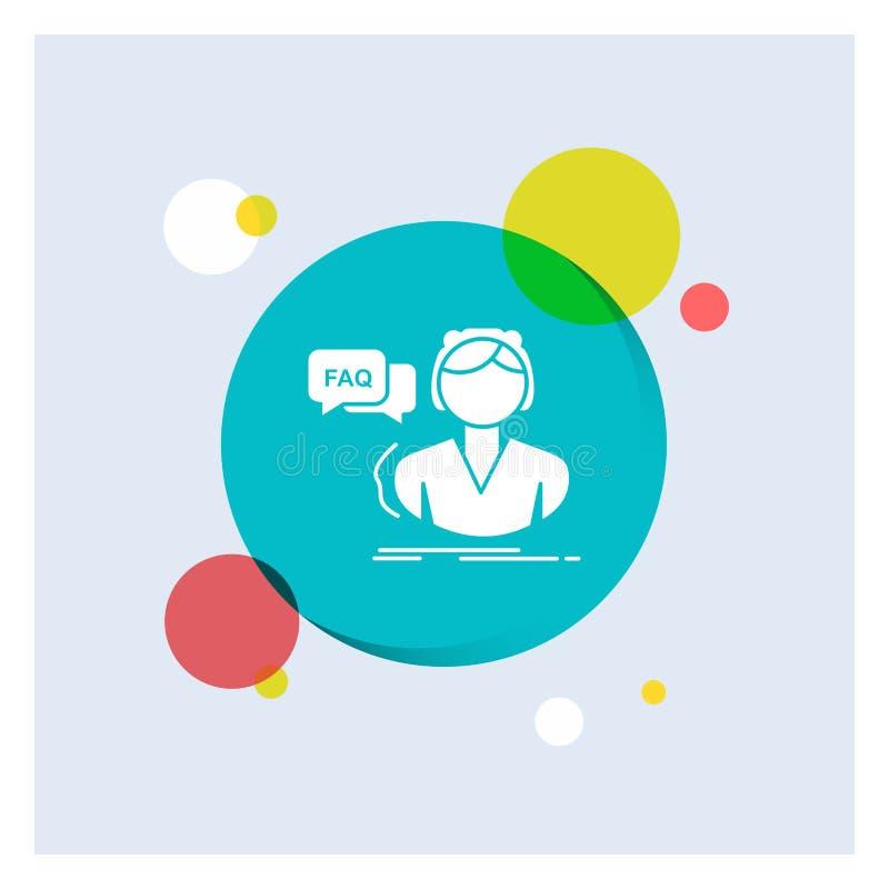 FAQ, aide, appel, consultation, fond coloré de cercle d'icône blanche de Glyph d'aide illustration stock