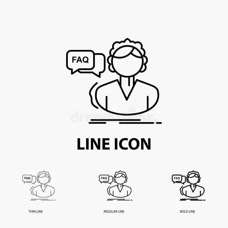 FAQ, aide, appel, consultation, icône d'aide dans la ligne style mince, régulière et audacieuse Illustration de vecteur illustration libre de droits