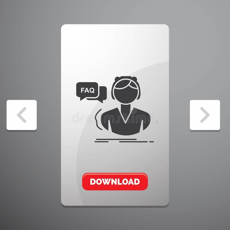 FAQ, aide, appel, consultation, icône de Glyph d'aide dans la conception de glisseur de paginations de beuverie et bouton rouge d illustration libre de droits