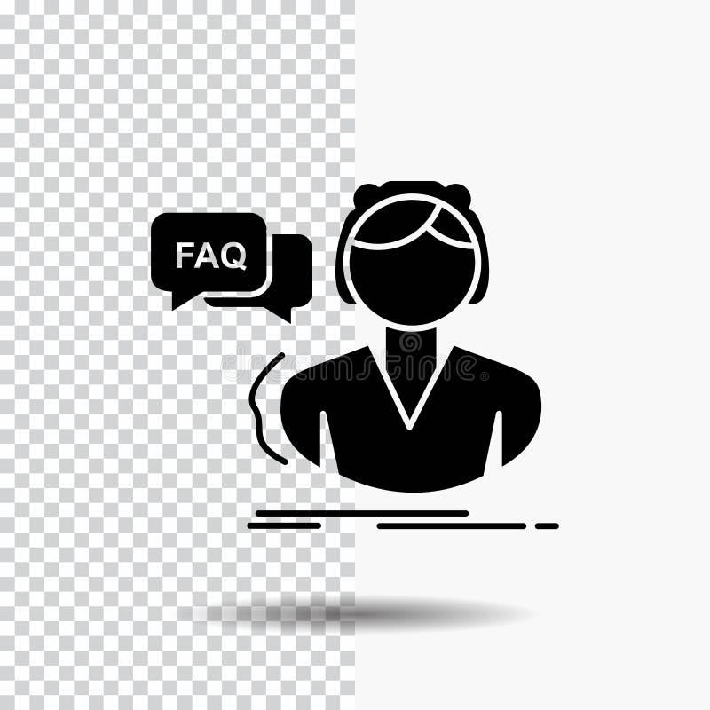 FAQ, aide, appel, consultation, icône de Glyph d'aide sur le fond transparent Ic?ne noire illustration libre de droits