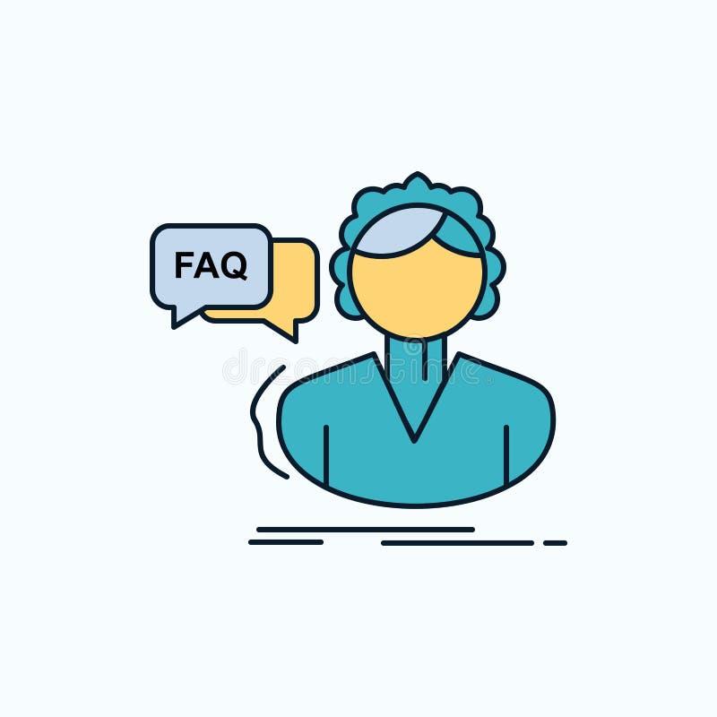 FAQ, aide, appel, consultation, icône plate d'aide signe et symboles verts et jaunes pour le site Web et l'appliation mobile Vect illustration libre de droits